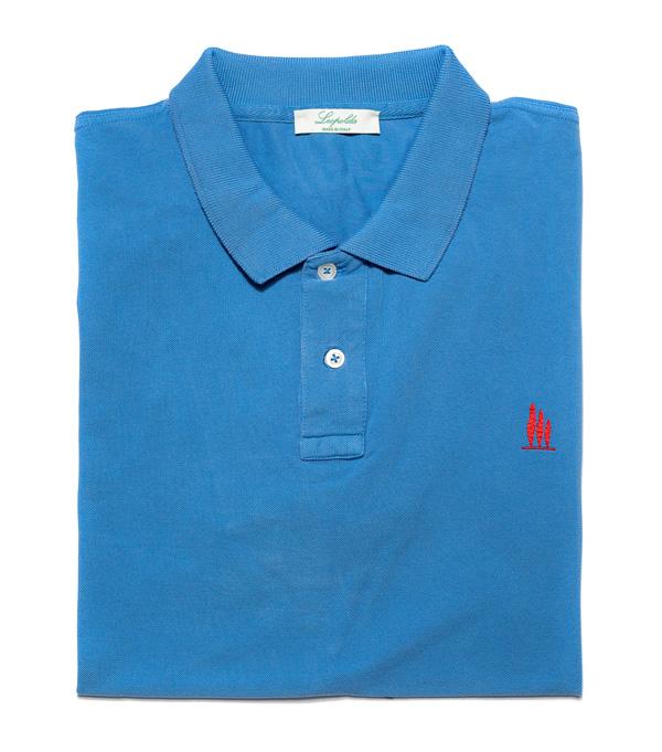 polo manica corta di colore azzurro della nuova collezione primavera estate leopolda cashmere