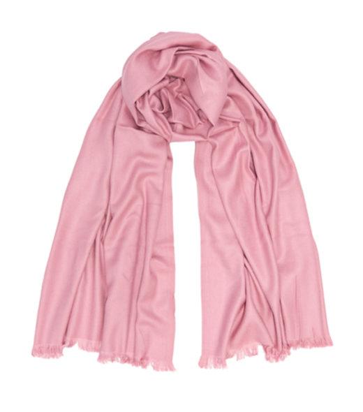 ampia stola misto cashmere di colore rosa produzione artigianale italiana