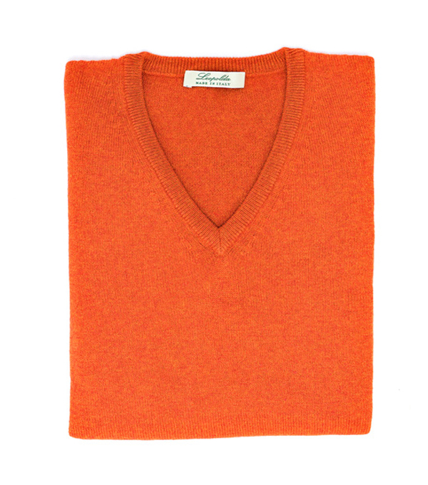 Man cashmere V neck pullover color: Orange