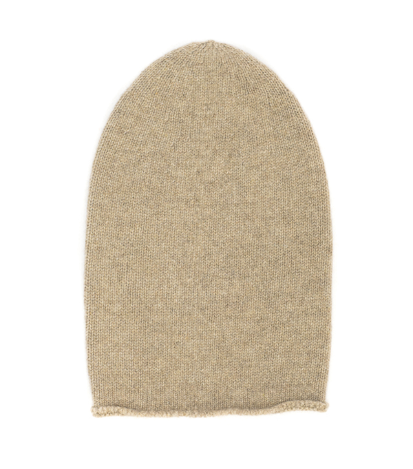 cappello senza risvolta colore panna 100% cashmere produzione made in italy
