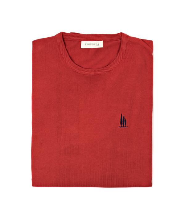 maglia girocollo cotone rosso vendita online