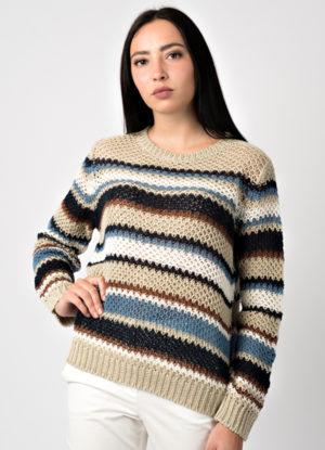 maglia donna in 100% lino di produzione leopolda cashmere italia