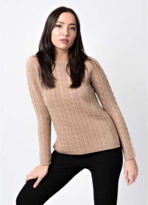 maglia donna a treccine con spacchi laterali di leopolda cashmere