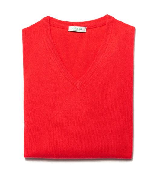maglia uomo scollo v rosso in cashmere di leopolda bolgheri italia