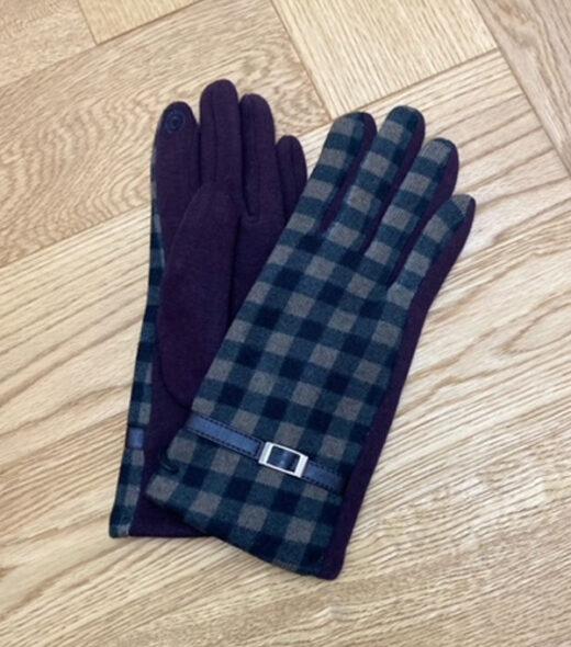guanti donna con fantasia a quadri nero e marrone leopolda cashmere