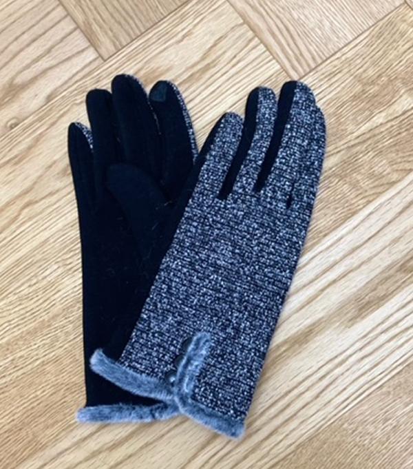 women's winter glove dark gray melange