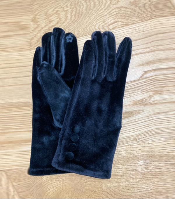 women's winter gloves in blue velvet leopolda bolgheri