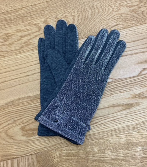 women's winter glove light blue color with lurex effect