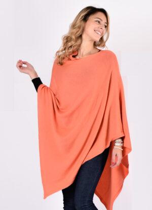 mantella paris colore arancio in lavorazione cashmere 4 fili