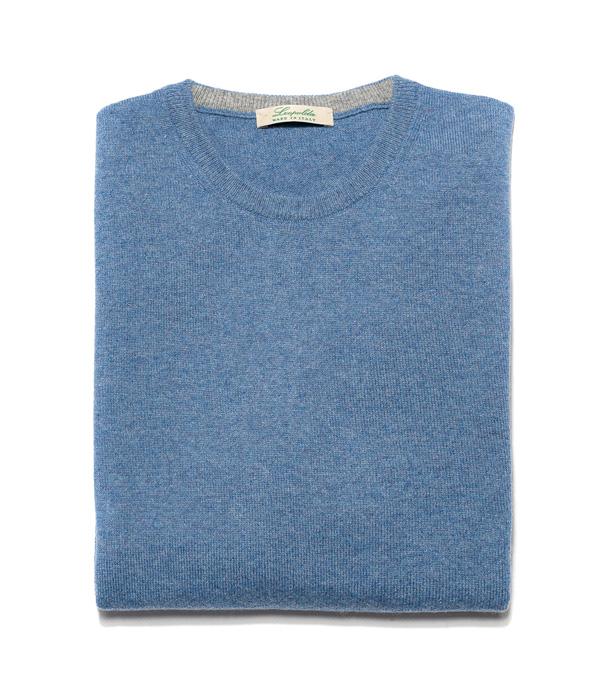 Man cashmere pullover crew neck color: Denim